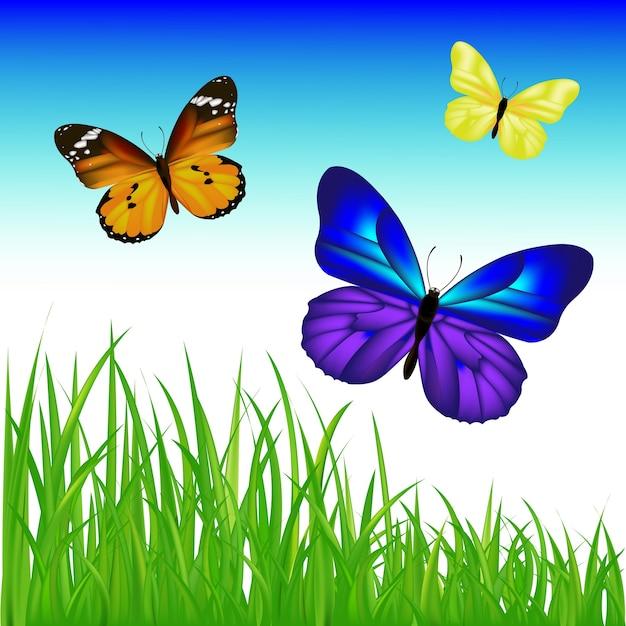 Schmetterlinge und grünes gras mit farbverlaufsnetz, illustration Premium Vektoren
