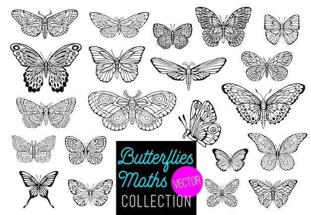 Schmetterlinge zeichnungssatz. hand gezeichnete illustration. Premium Vektoren