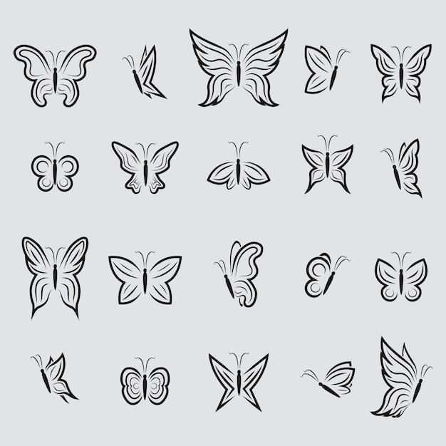 Schmetterlings-ikonen-sammlung Kostenlosen Vektoren