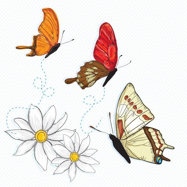 Schmetterlings-ikonen (sammlungssatz) auf weißem hintergrund Premium Vektoren