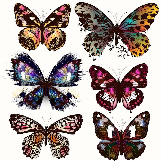 Schmetterlingsentwurfsansammlung Premium Vektoren