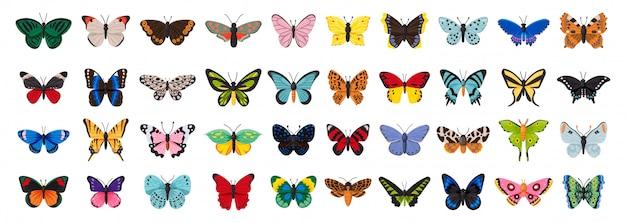 Schmetterlingsillustration auf weißem hintergrund. dekoratives insekt der isolierten karikatursatzikone. cartoon set symbol schmetterling. Premium Vektoren