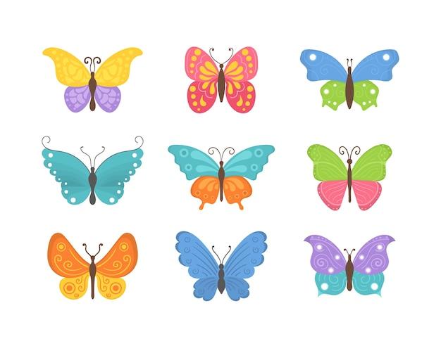 Schmetterlingskollektion im flachen design. satz fliegende schmetterlingsikonen lokalisiert auf einem weißen hintergrund. bunte sommerinsekten eine draufsicht. Premium Vektoren