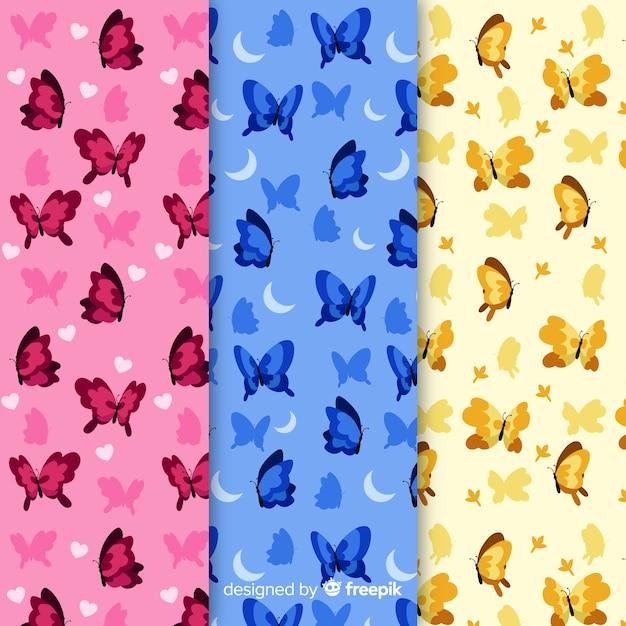 Schmetterlingsmuster-sammlung Kostenlosen Vektoren