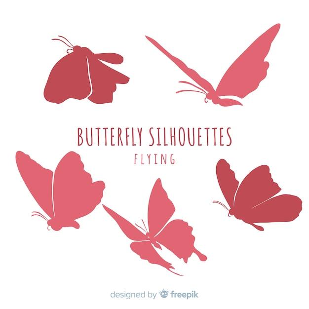 Schmetterlingsschattenbildsatz Kostenlosen Vektoren