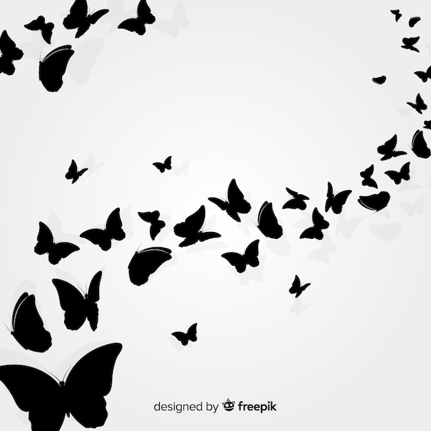 Schmetterlingsschwarm silhouette hintergrund Premium Vektoren