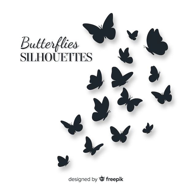 Schmetterlingsschwarm silhouette hintergrund Kostenlosen Vektoren