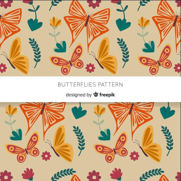 Schmetterlingsschwarmfliegenmuster Kostenlosen Vektoren