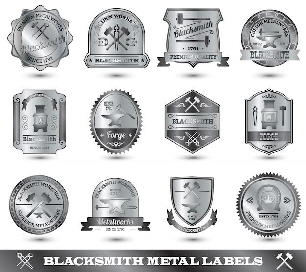 Schmied metal label Kostenlosen Vektoren