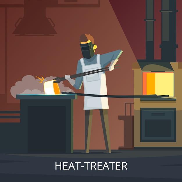 Schmiede wärmebehandelnder stahl auf retro- karikaturplakat des ambosses des härtens Kostenlosen Vektoren