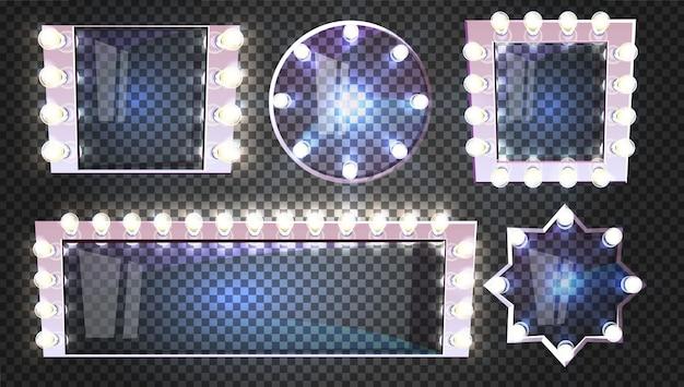 Schminkspiegel mit lampenillustration im retro- quadrat-, rund- und sternformrahmen Kostenlosen Vektoren