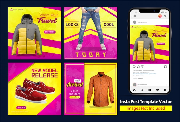 Schmutz kleidet verkaufs-quadrat insta-fahnen-design mit gelber und purpurroter farbabstufung Premium Vektoren