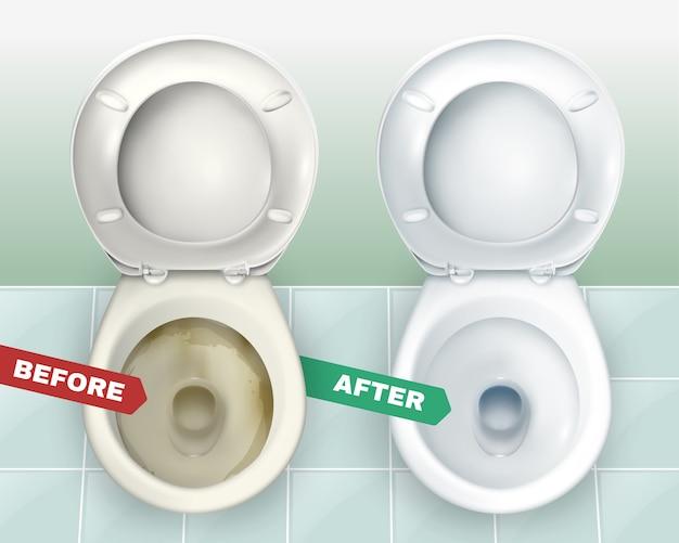 Schmutzige und saubere toiletten Kostenlosen Vektoren