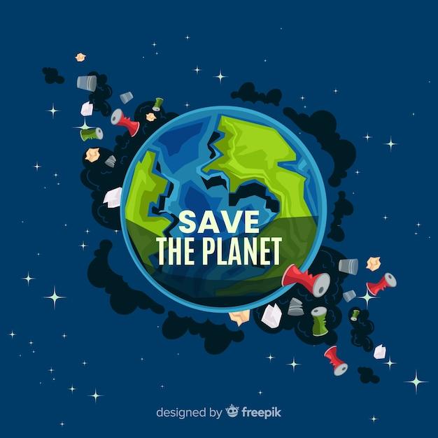 Schmutziger planetenerde-karikaturhintergrund Kostenlosen Vektoren