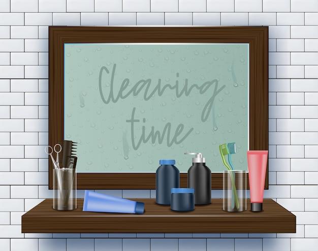 Schmutziger spiegel auf badezimmerwand. reinigungszeit. Premium Vektoren