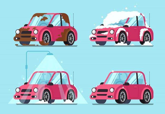 Schmutziges auto waschen Premium Vektoren