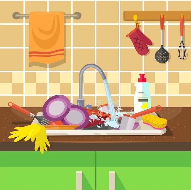 Schmutziges waschbecken mit küchengeschirr. Premium Vektoren