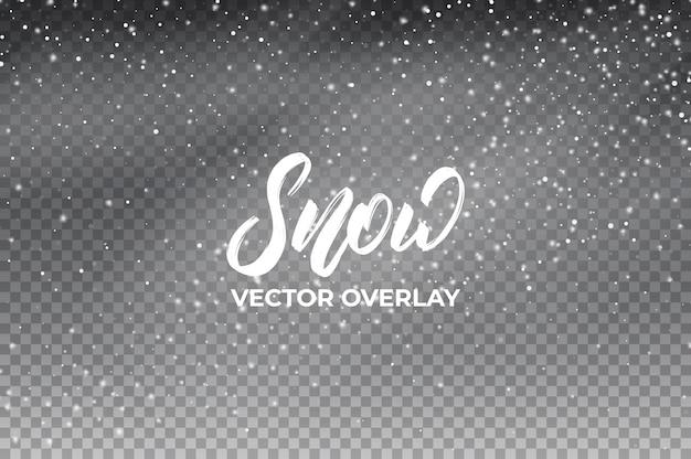 Schnee hintergrund realistische schneeüberlagerung. Premium Vektoren