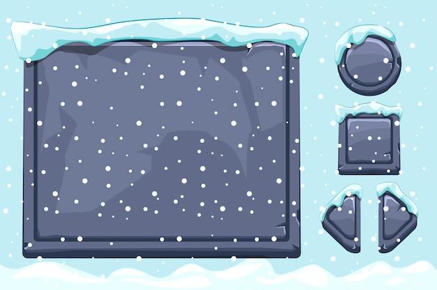 Schneebedeckte steine und knöpfe für das ui-spiel. winterspiel ui steine knöpfe mit schnee. isoliertes objekt und schnee Premium Vektoren