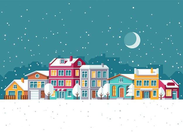 Schneefälle in der winterstadt mit karikaturvektorillustration der kleinen häuser. weihnachtsferien-konzept Premium Vektoren