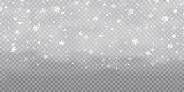 Schneefall, schneeflocken in verschiedenen formen und formen. schneeflocken, schneehintergrund. weihnachtsschnee für das neue jahr. weißer schnee fliegt auf transparent Premium Vektoren
