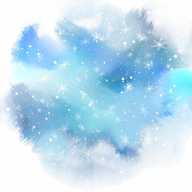 Schneeflocken auf aquarell hintergrund Kostenlosen Vektoren