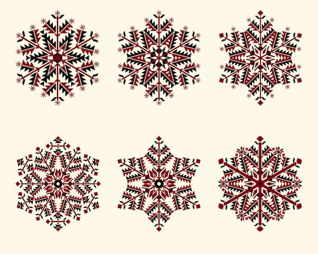 Schneeflocken gesetzt. elegante schneeflocken für weihnachten und neujahr. Kostenlosen Vektoren