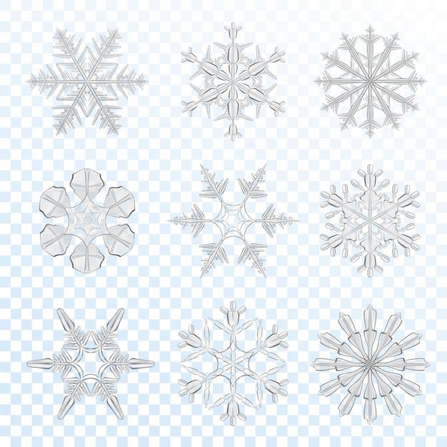 Schneeflocken grau gesetzt Kostenlosen Vektoren