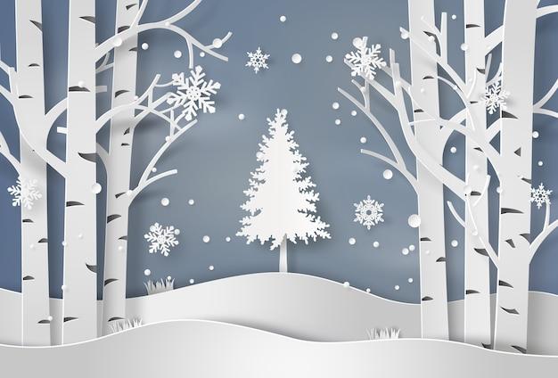 Schneeflocken und weihnachtsbaum Premium Vektoren