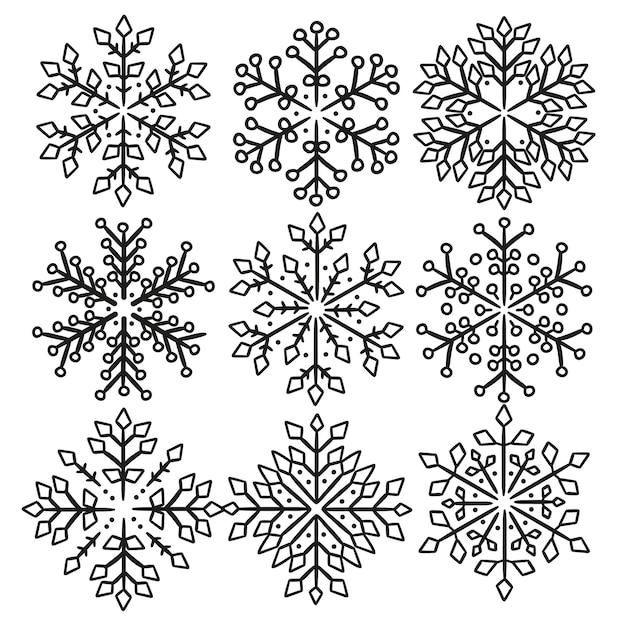 Schneeflocken weihnachten linie clipart Premium Vektoren