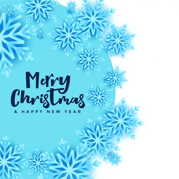 Schneeflockenfahne der frohen weihnachten in der blauen und weißen farbe Kostenlosen Vektoren