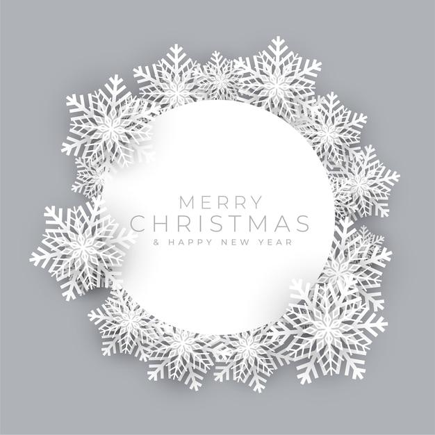Schneeflockenrahmen für frohe weihnachtsfesthintergrund Kostenlosen Vektoren