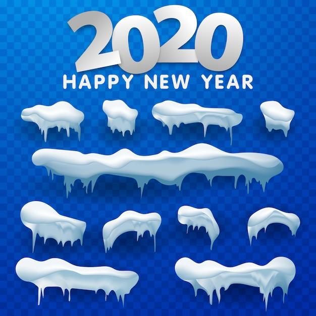 Schneekappen, schneebälle und schneeverwehungen eingestellt. schneekappe vektor sammlung. winterdekoration Premium Vektoren