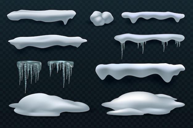 Schneekappen und eiszapfen. schneeball- und schneeverwehungsvektorwinterdekorationen Premium Vektoren