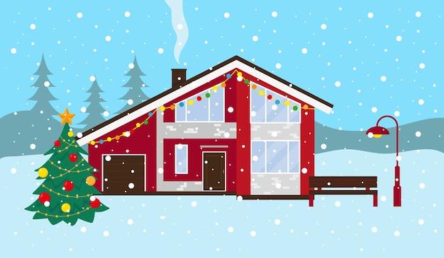 Schneelandschaft im winter. landhaus, bank und weihnachtsbaum draußen. illustration. Premium Vektoren