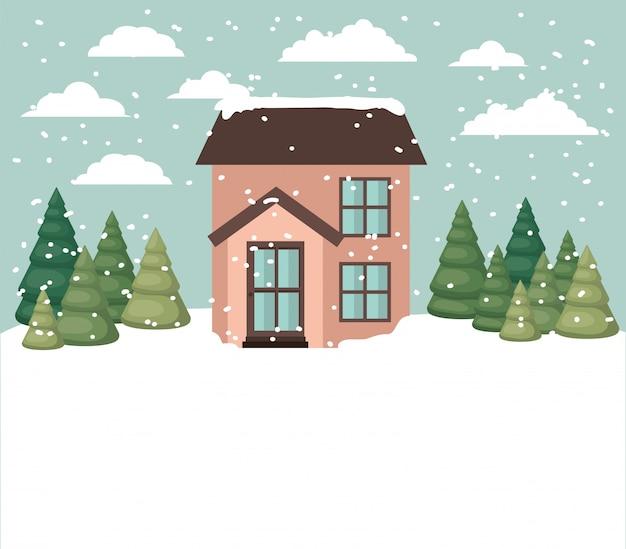 Schneelandschaft mit süßen haus Kostenlosen Vektoren