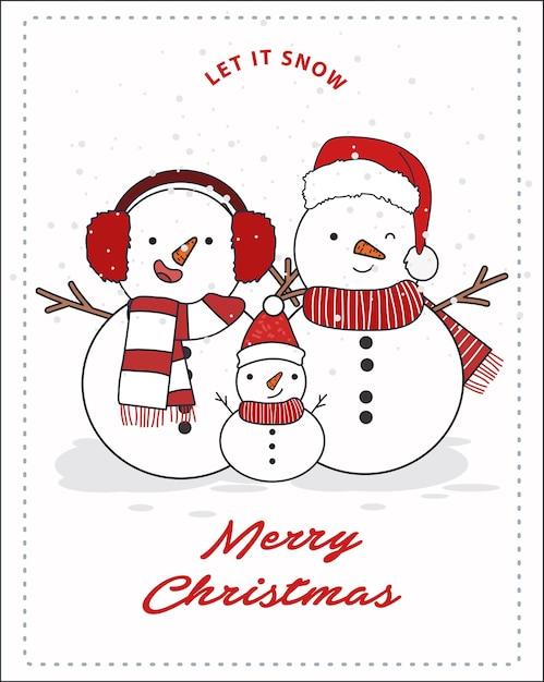 Schneemann-familienillustration. frohe weihnachten karte oder postkarte. Premium Vektoren
