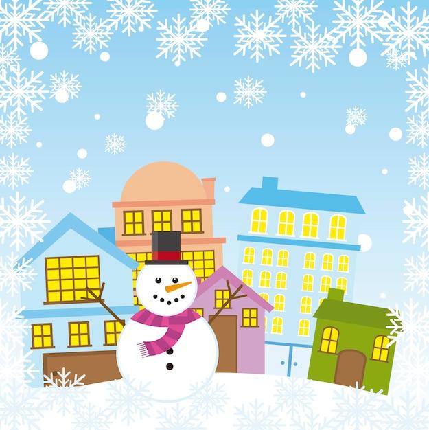 Schneemann in der stadt mit schneeflocken weihnachtsvektor Premium Vektoren