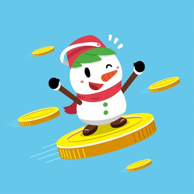 Schneemann mit großen münzen Premium Vektoren