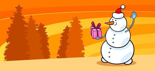 Schneemann sankt mit geschenkkarikaturkarte Premium Vektoren