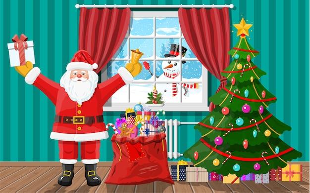 Schneemann schaut in wohnzimmerfenster. santa im zimmer mit weihnachtsbaum und geschenken. frohes neues jahr dekoration. frohe weihnachten. neujahrs- und weihnachtsfeier. Premium Vektoren