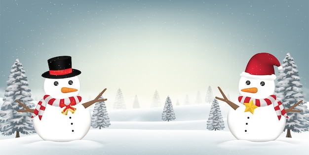 Schneemann zwei im waldschnee-winterhintergrund Premium Vektoren