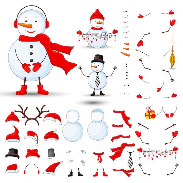 Schneemannkörperteile, transformatorsatz auf einem weiß lokalisierten hintergrund Premium Vektoren