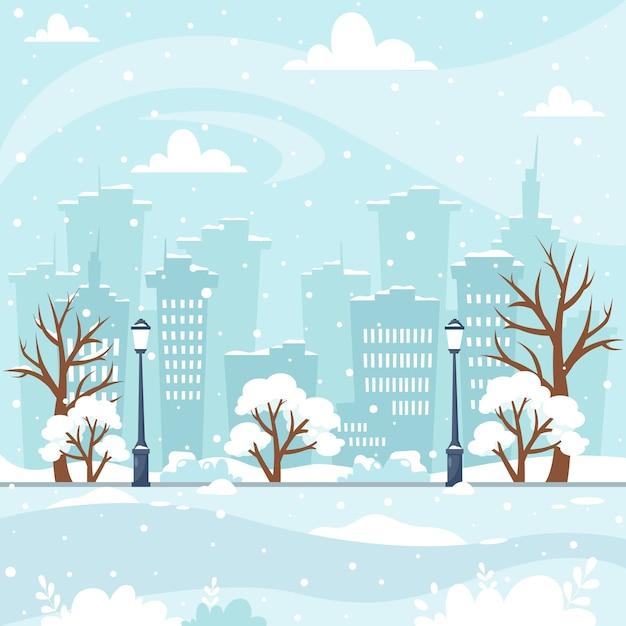 Schneewinterstadtbild mit baumbaupark Premium Vektoren