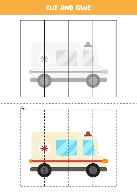 Schneiden und kleben sie spiel für kinder mit cartoon-krankenwagen. schneidpraxis für kinder im vorschulalter. Premium Vektoren