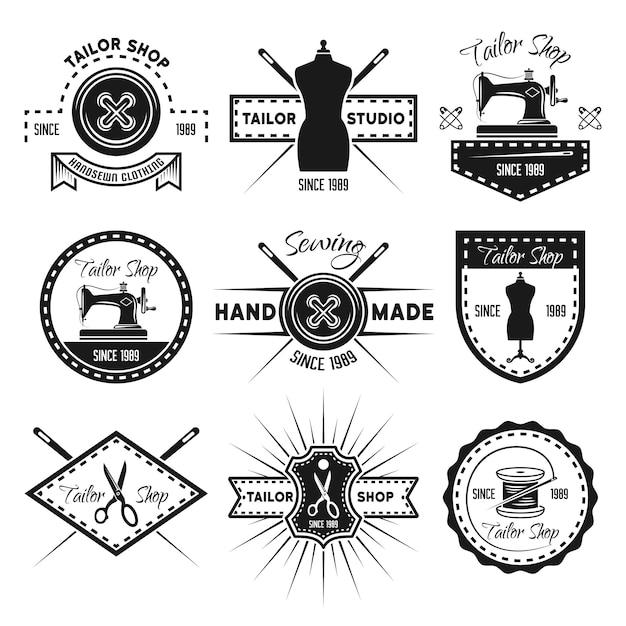 Schneiderei-satz von monochromen etiketten, abzeichen, emblemen und logos lokalisiert auf weiß Premium Vektoren