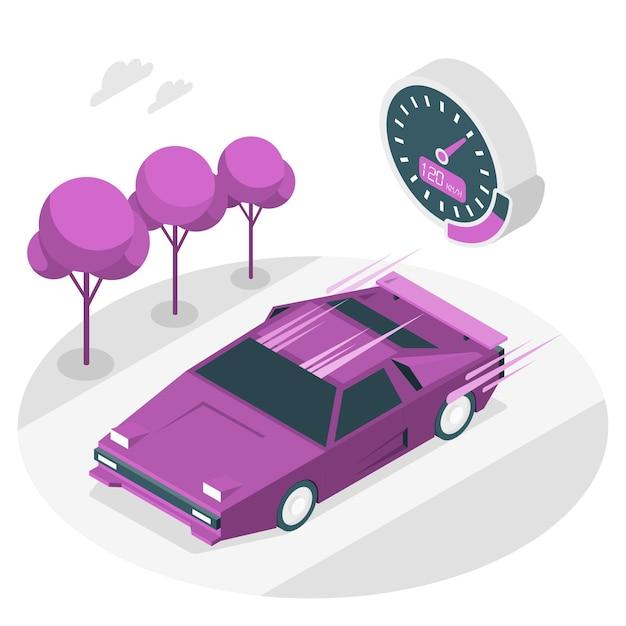 Schnelle auto-konzeptillustration Kostenlosen Vektoren