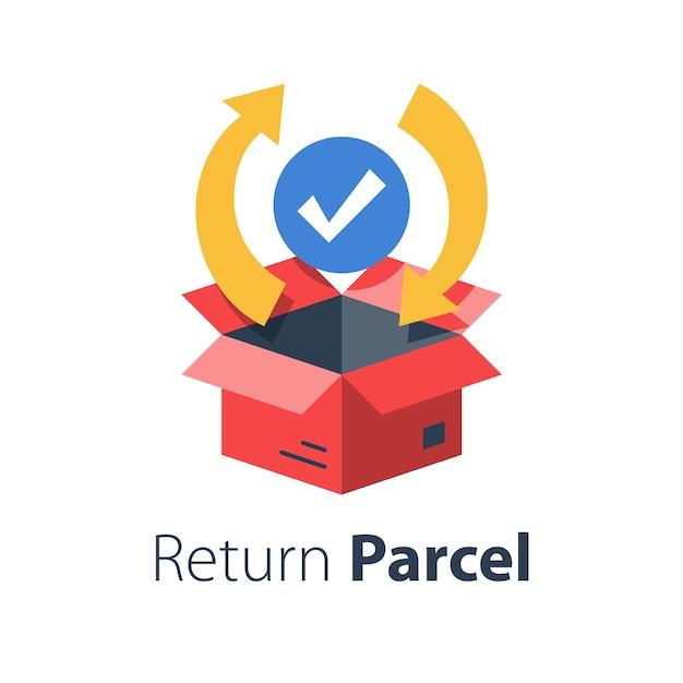 Schnelle bearbeitung des geschäftsauftrags, paketversand, sendungsverfolgung, warenverteilungsservice, liefergarantie, flache abbildung Premium Vektoren