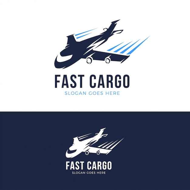 Schnelle frachtflugzeug logo vorlage Premium Vektoren