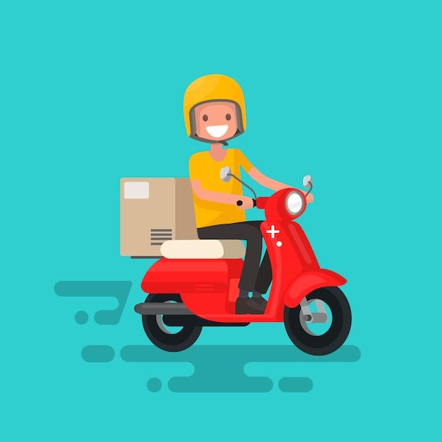 Schnelle lieferung. der typ auf dem fahrrad hat es eilig, die bestellung zu liefern Premium Vektoren
